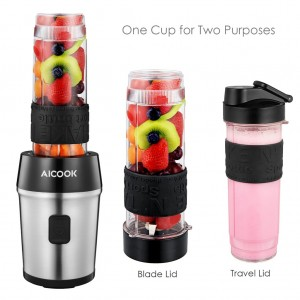 Aicook TB13SM 2 in 1 Personal Blender Chopper Juicer With Tritan Bottle BPA FREE