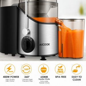 Aicook AMR526 Wide Mouth BPA-FREE 304 StainlessSteel 3 Speeds Centrifugal Juicer