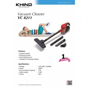 KHIND VC8211 Powerful Suction Cyclone Vacuum Cleaner