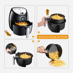 Aicook AF-11 4.3L Extra Large XL Size 1500W Healthy Non Stick Smart Air Fryer 360°Full Circulation Rapid Tech Oil Free