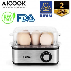 AICOOK ZDQ-806 500W Electric Multi-functional Rapid Egg Cooker 8 Eggs High Capacity Auto Shut-Off Steamer Heater
