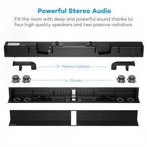 SK15 34'' Wall Mountable Soundbar Powerful Stereo Audio 2 Passive Radiators