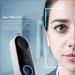 AI Face Recognition D819 Qihoo 360 WIFI Smart Video Doorbell Motion Detection Security Camera Violent Demolition Alarm