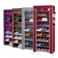 Stackable 10 Tier 9 Column Shoe Rack with Dust Cover
