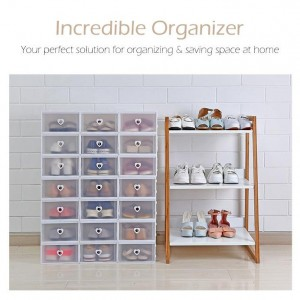 12 Units Shoe Box Drawer Multipurpose Storage Box Stackable Shoes Box Foldable Shoes Rack Organizer Casing