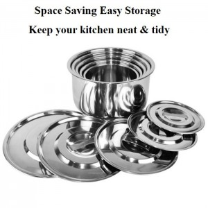 5 in 1 High Quality Stainless Steel Multipurpose Stock Pot Storage Pot Indian Pot Cookware Set