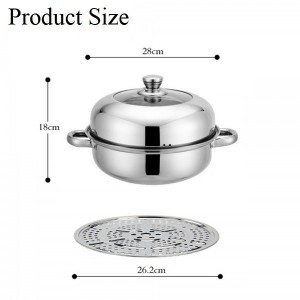 28cm 2 Layers Hot Pot Steamed Soup Stainless Steel Cookware Steam Pot 2 Layer