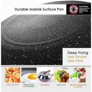 Marble Stone Nonstick Wok Frying Pan 32cm with Glass Lid Induction Cookware Set