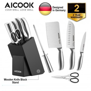 AICOOK KFH001 German High Carbon Stainless Steel X50Cr15 Premium 6in1 Kitchen Knife Set