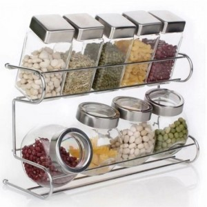 Spice Rack 2 Tier with Cylindrical & Round Jars