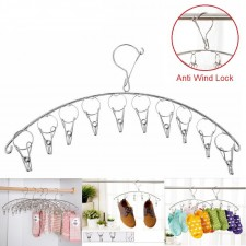 Stainless Steel Laundry 10 Clips Cloth Hanger With Anti Wind Lock