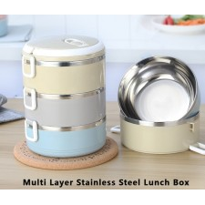 3 Layer Stainless Steel Lunch Box Elegant Design Bento Lunch Box For Office School Outdoor