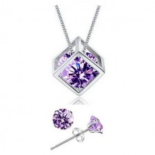 Youniq Cube 925s Silver Pendant With Purple Cz Necklace & Earrings Set