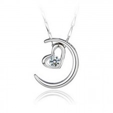 Youniq Moon Lover 925 Sterling Silver Necklace Pendant With Cubic Zirconia