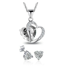 Youniq Aegean Love 925s Silver Necklace Pendant With White Cz & Earrings Set