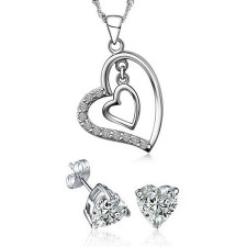 Youniq Heart To Heart 925s Silver Necklace Pendant With Cz & Earrings Set