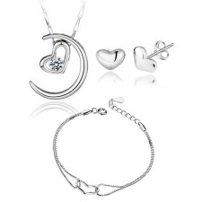 Youniq Moon Lover 925s Silver Pendant With Cz Necklace, Earrings & Bracelet Set