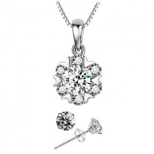 Youniq Snow Dance 925s Silver Necklace Pendant With Cz & Earrings Set