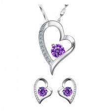 Youniq Love 925s Silver Pendant With Purple Cz Necklace & Earrings Set
