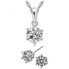 Youniq Hexagon 925s Silver Pendant With Cz Necklace & Earrings Set