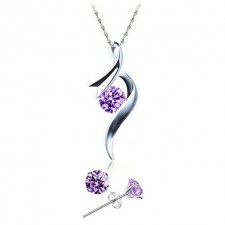 Youniq Ribbon 925s Silver Pendant With Purple Cz Necklace & Earrings Set