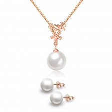 Youniq Pearl Drop 14k Rosegold Plated Silver Necklace Pendant & Earrings Set