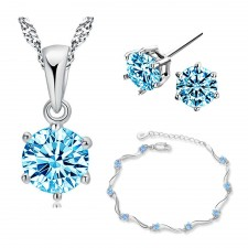 Youniq Hexa 925s Silver Necklace Pendant With Blue Cz, Earrings And Bracelet Set