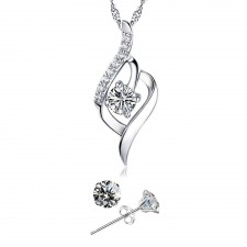 Youniq Weave 925s Silver Necklace Pendant With Cz & Earrings Set