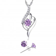 Youniq Weave 925 S Silver Necklace Pendant With Purple Cz & Earrings Set