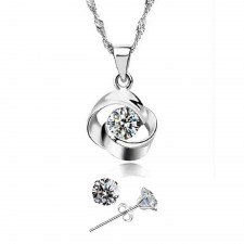 Youniq Hana 925s Silver Necklace Pendant With Cz & Earrings Set