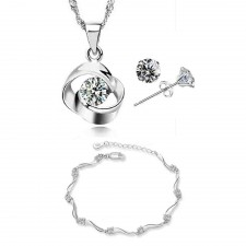 Youniq Hana 925s Silver Necklace Pendant With Cz, Earrings And Bracelet Set