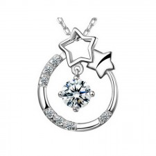 Youniq Stary Eyes 925 Sterling Silver Necklace Pendant With Cubic Zirconia