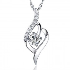 Youniq Weave 925 Sterling Silver Necklace Pendant With Cubic Zirconia (White)