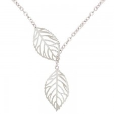 Youniq Basic Korean Twin Leaves Silver Necklace