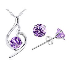 Youniq Wave 925 Sterling Silver Pendant With Purple Cz Necklace & Earrings Set