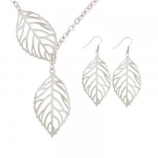 Youniq Basic Korean Twin Leaves Silver Necklace & Earrings Jewellery Gift Set