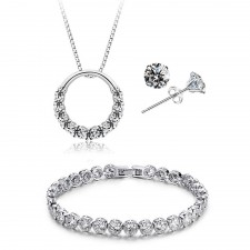 Youniq D´lord 925s Silver Necklace Pendant With Cz, Earrings And Bracelet Set