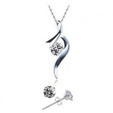 Youniq Ribbon 925s Silver Pendant With Cz Necklace & Earrings Set