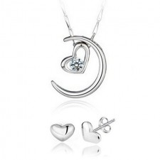 Youniq Filled In Love 925s Silver Pendant With Cz Necklace & Earrings Set