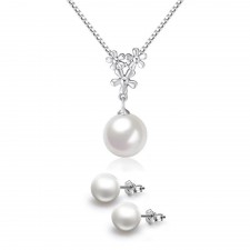 Youniq Pearl Drop 925 Sterling Silver Necklace Pendant & Earrings Set