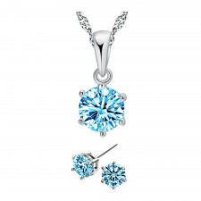 Youniq Hexa 925s Silver Necklace Pendant With Brilliant Cut Cz And Earrings Set