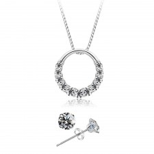 Youniq D´lord 925s Silver Necklace Pendant With Cz & Earrings Set