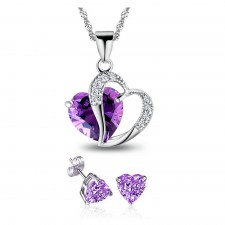 Youniq Lavender Love 925s Silver Necklace Pendant With Blue Cz & Earrings Set