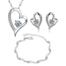 Youniq Love 925s Silver Pendant With Silver Cz Necklace Earrings & Bracelet