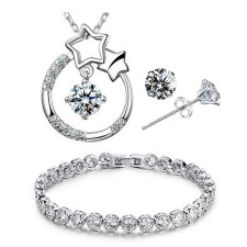 Youniq Stary Eyes 925s Necklace Pendant With Cz Necklace, Earrings & Bracelet