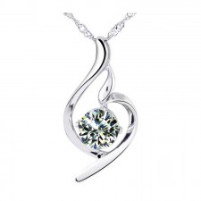 Youniq Wave 925 Sterling Silver Necklace Pendant With Cubic Zirconia (White)