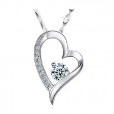 Youniq Filled In Love 925 S.silver Pendant Necklace With C.zirconia (White)