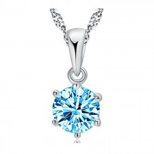 Youniq Hexa 925 S.silver Necklace Pendant With Cubic Zirconia (Blue)