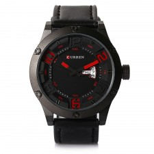 Curren 8251 Men's Genuine Leather Strap Watch with Day & Date Display