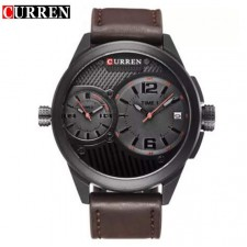 Curren 8249 Dual Time Men Dial Genuine Leather Strap Analog Watch With Date
